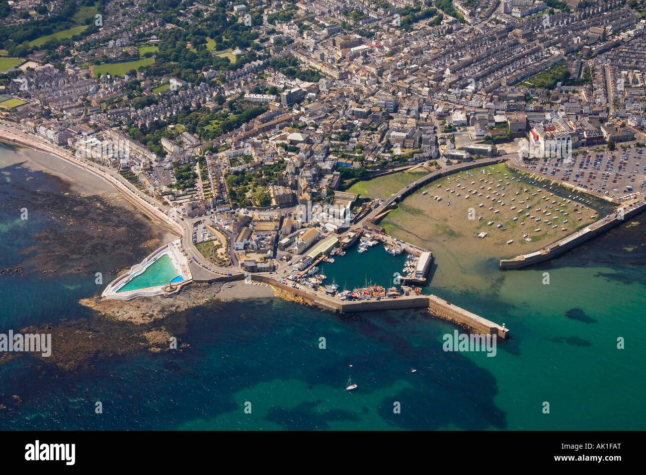 Penzance Aerial View Showing Jubilee Outdoor Pool Lido Cornwall Stock Photo Royalty Free Image