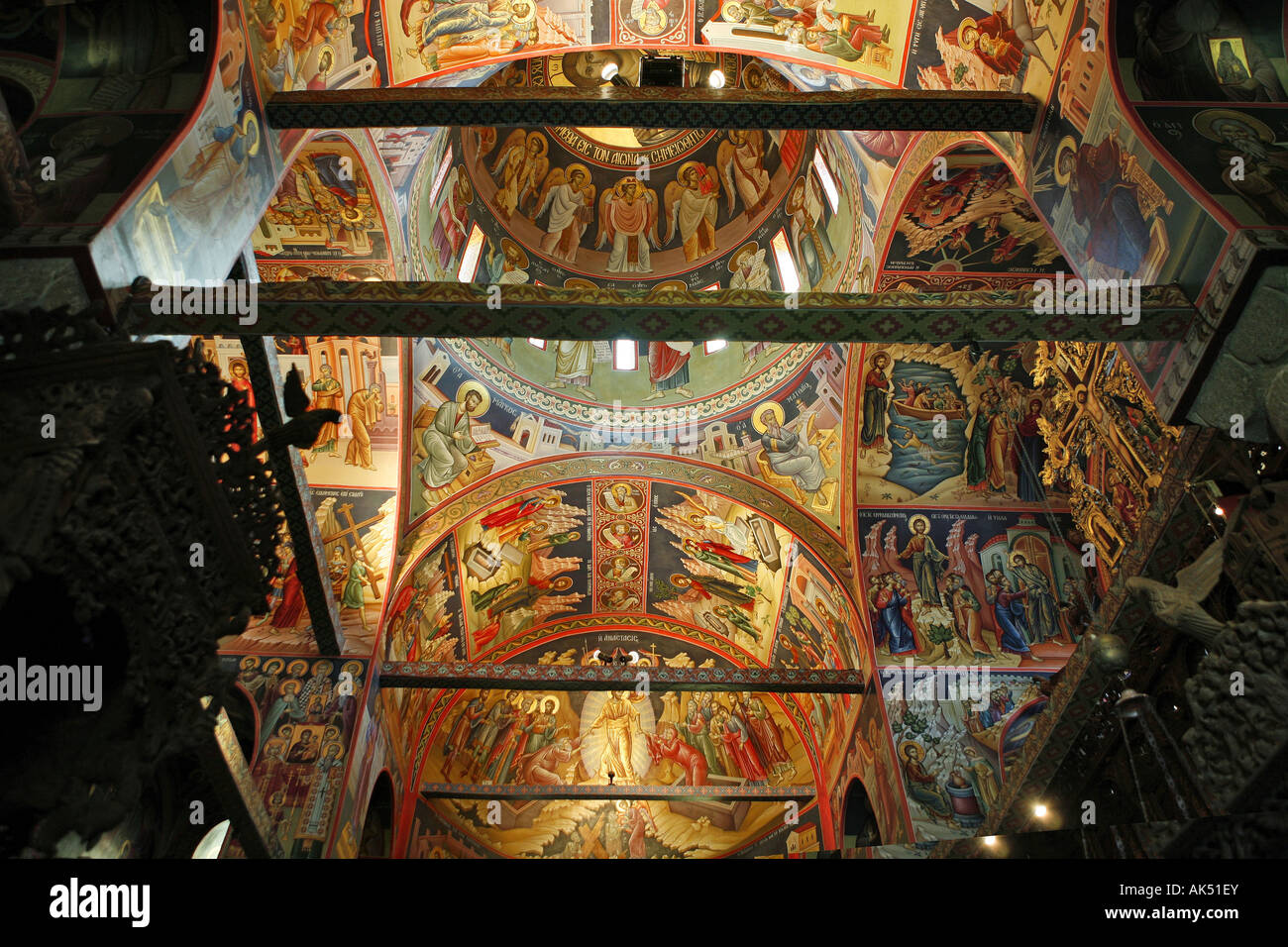 The ceiling of Agios Stefanos monastery in Meteora Greece ...