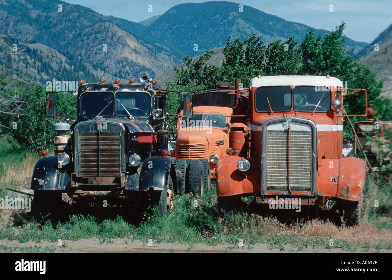 Old trucks Keremeos British Columbia Canada Alte ausgemusterte Stock ...
