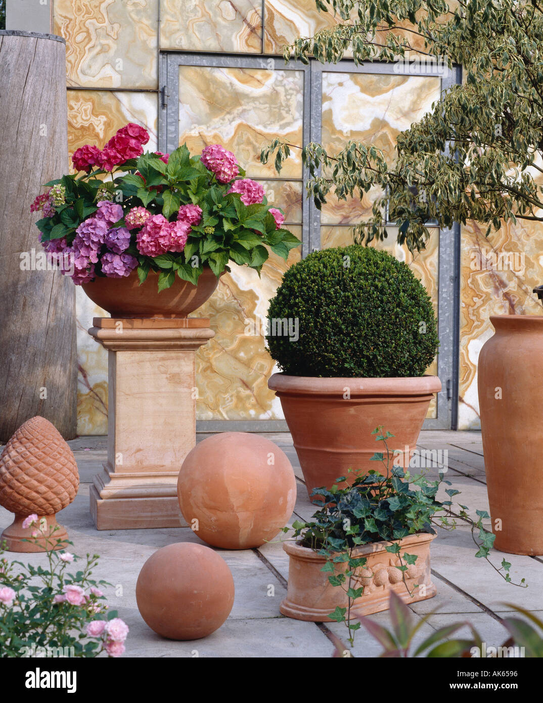 terracotta flower pots on terrace blumentoepfe aus. Black Bedroom Furniture Sets. Home Design Ideas