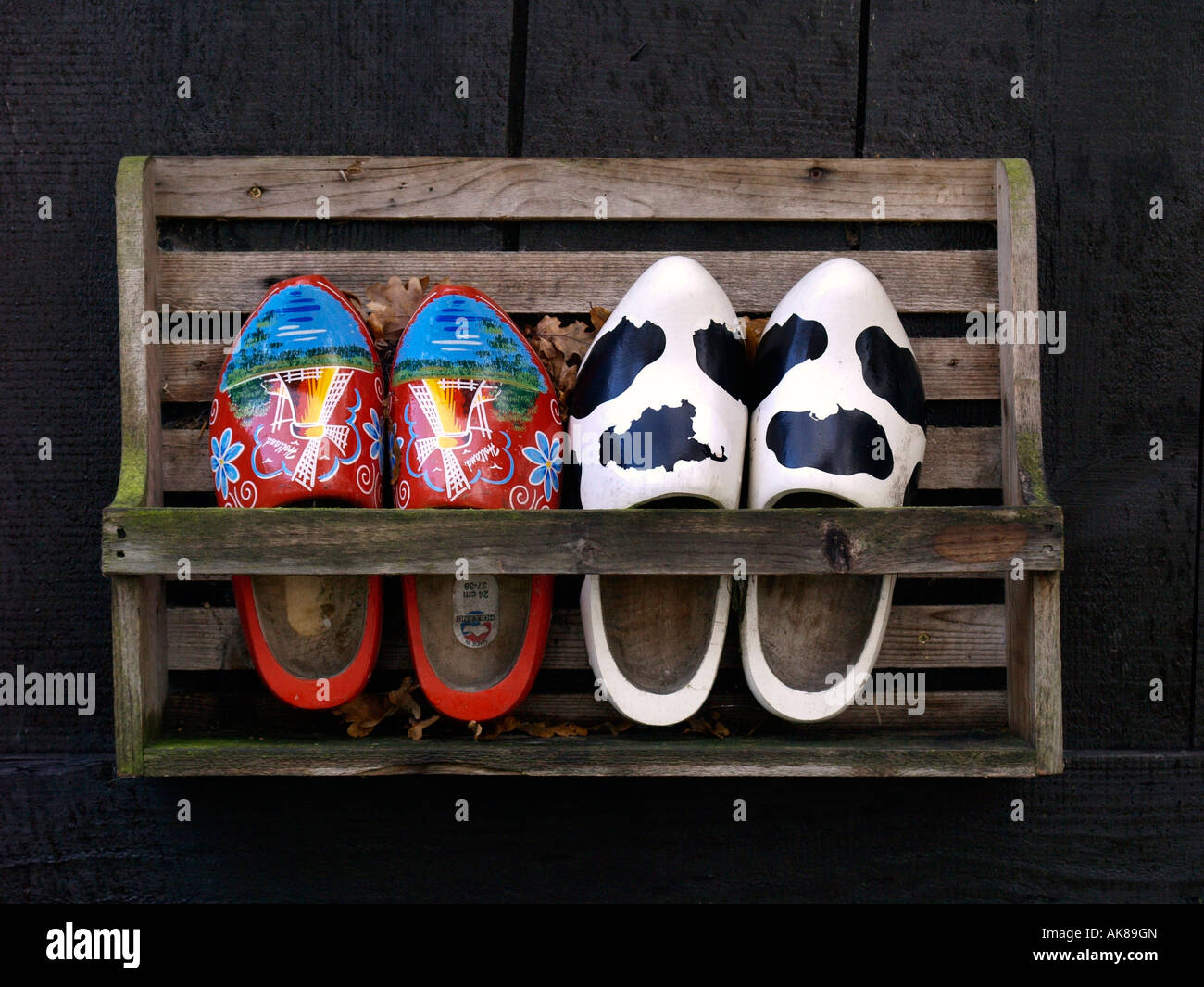 wooden rack with two pairs of wooden shoes souvenir of holland