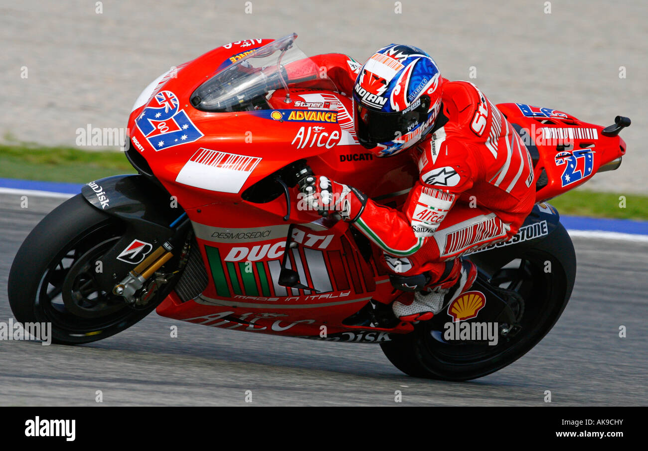 Moto GP rider Casey Stoner of Australia speeds his Ducati bike at Stock Photo, Royalty Free ...