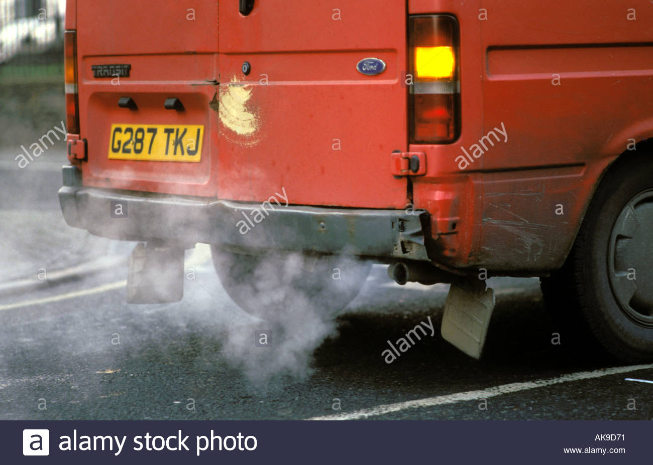 Exhaust Coming Out Of A Car ~ Diesel exhaust fumes coming out of back van uk stock