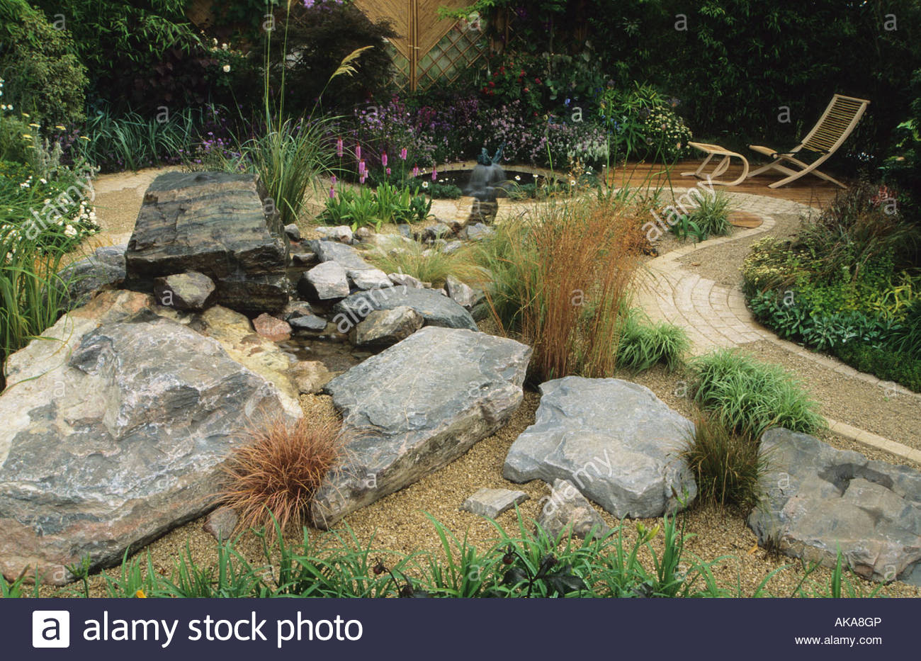 Feng Shui Garden Design Pamela Woods Rock And Gravel Garden With Meandering  Path