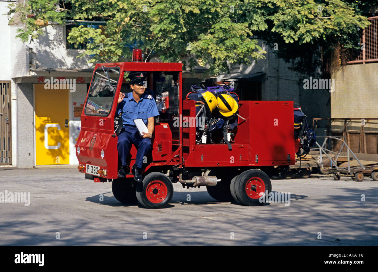 Tiny Truck Fireman Sitting On A Tiny Red Fire Truck Cheung Chau Hong Kong