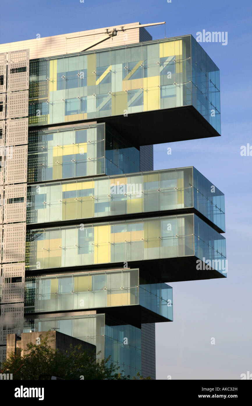 new build buy to rent accommodation cantilevered buildings manchester city  centre midland england uk gb europe