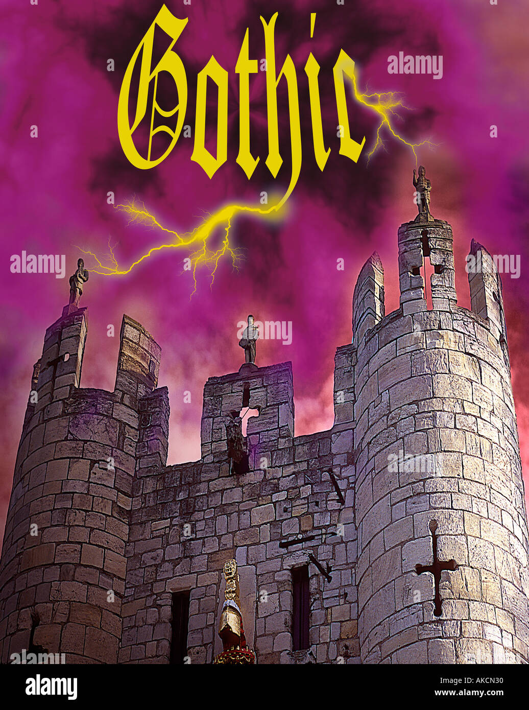 traditional view of horror gothic symbolism with imposing castle