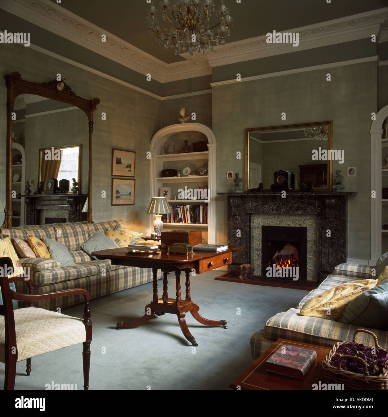 alcove shelving beside the fireplace in grey country drawing room