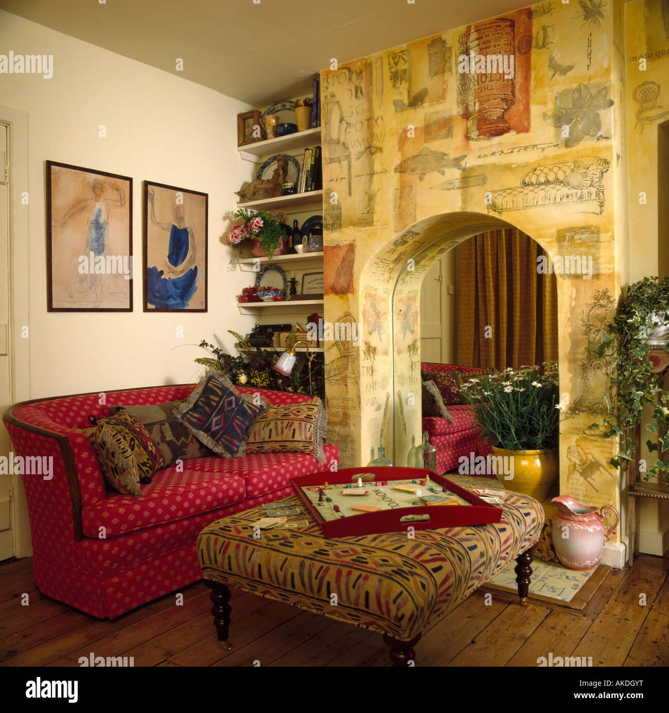 Living Room Alcove Paint Effect Mural On Wall Above Mirrored Fireplace Alcove In