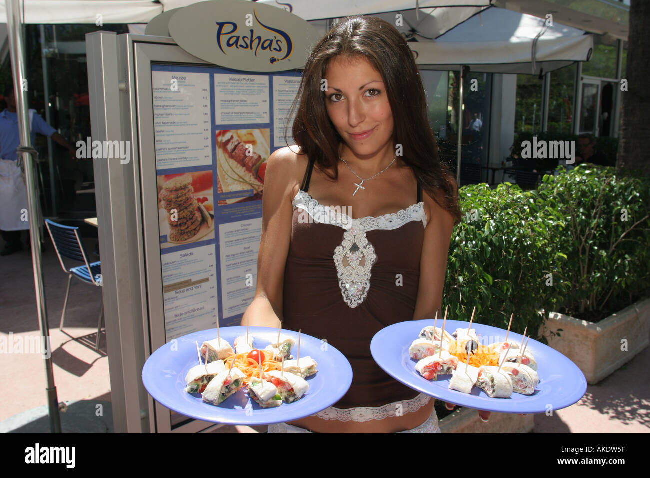Miami Beach Florida Lincoln Road Mall Pashas Restaurant Female Hostess Sample Kebab Wrap