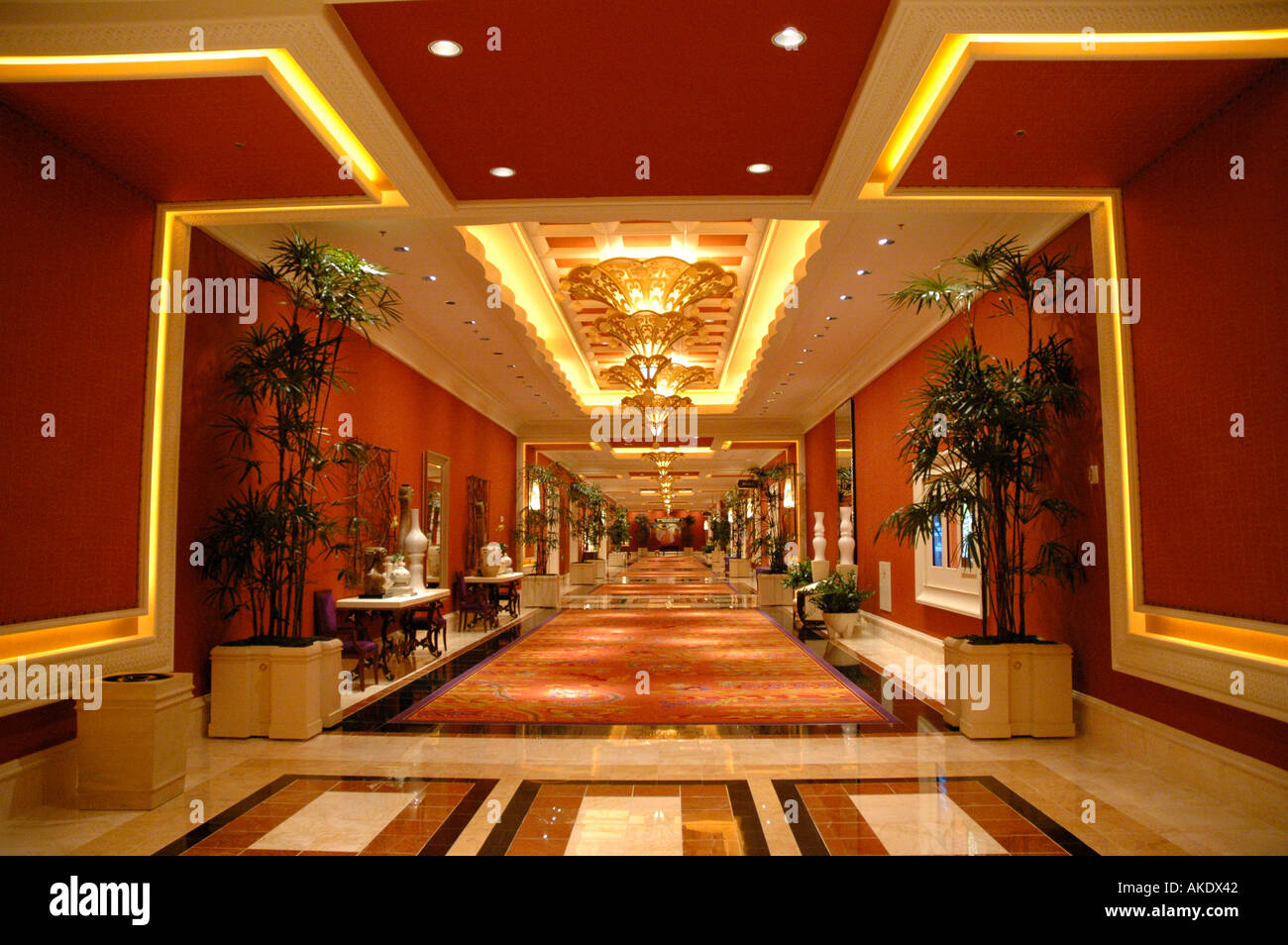 Las Vegas Nevada Wynn Hotel Interior Hallway Business Center Red Decor