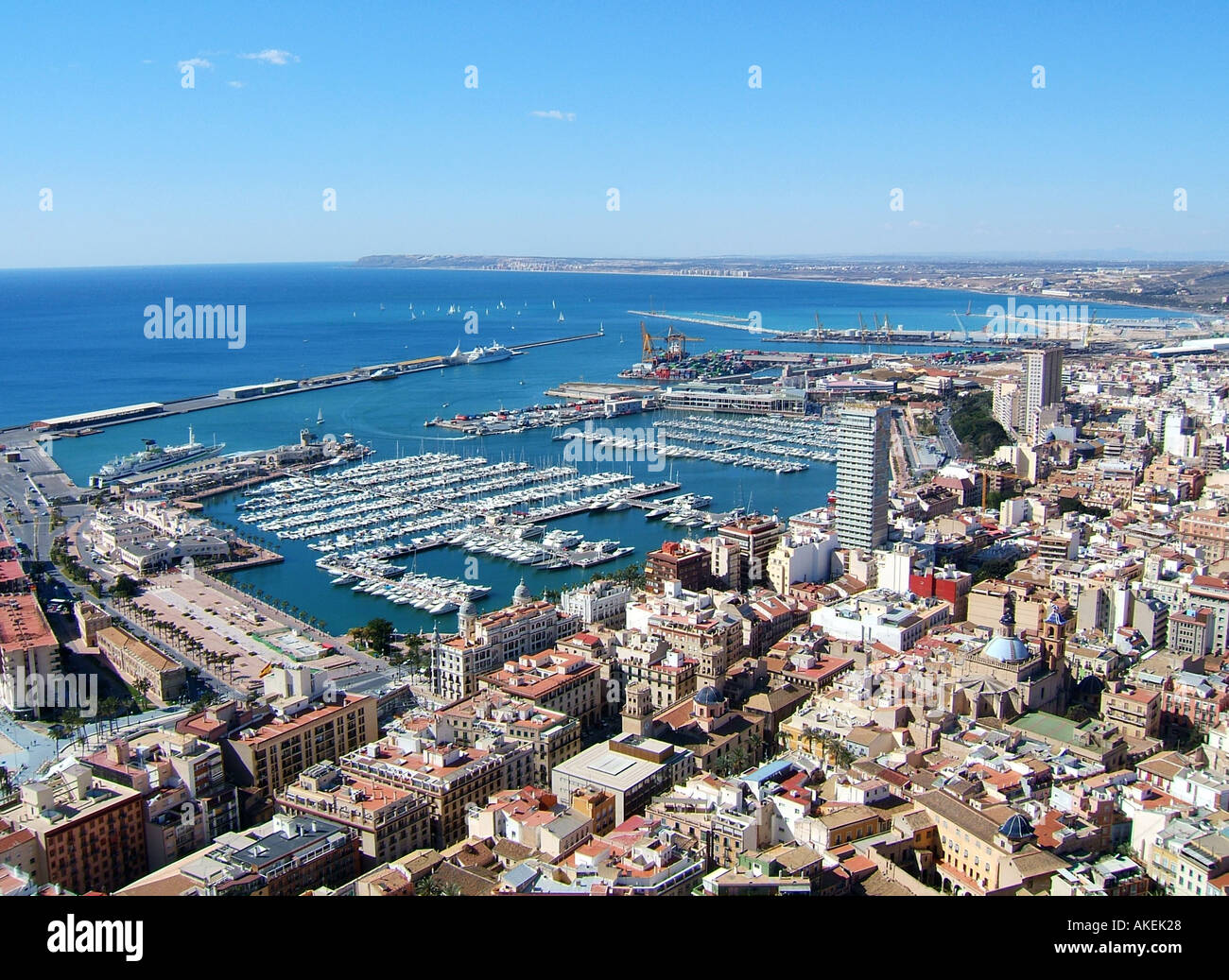 Aerial view of the port and old city of alicante valencia spain stock photo royalty free image - Stock uno alicante ...