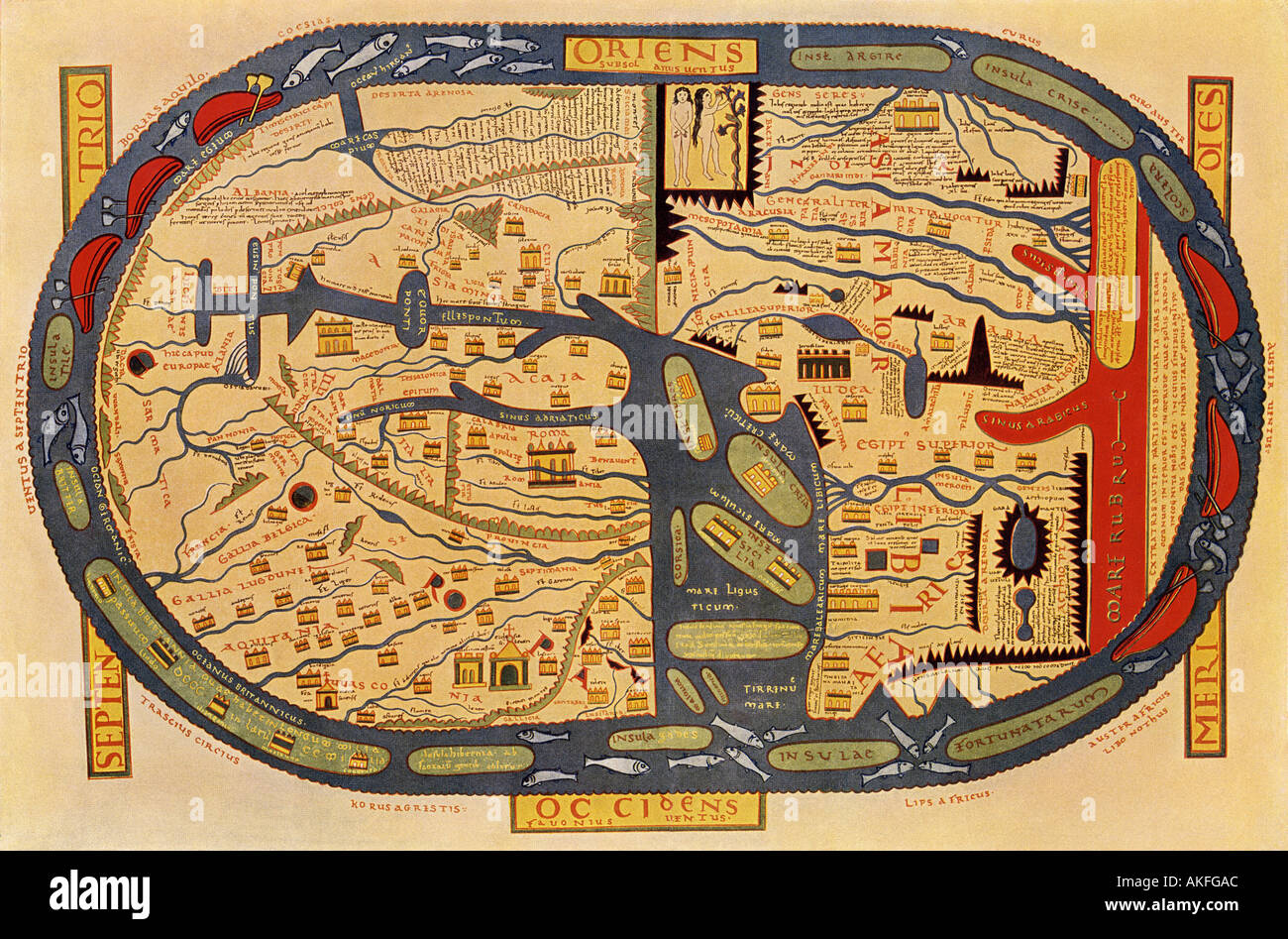 World map of the flat earth printed by beatus rhenanus bildaus world map of the flat earth printed by beatus rhenanus bildaus rheinau early 1500s north is left mediterranean sea middle gumiabroncs Gallery