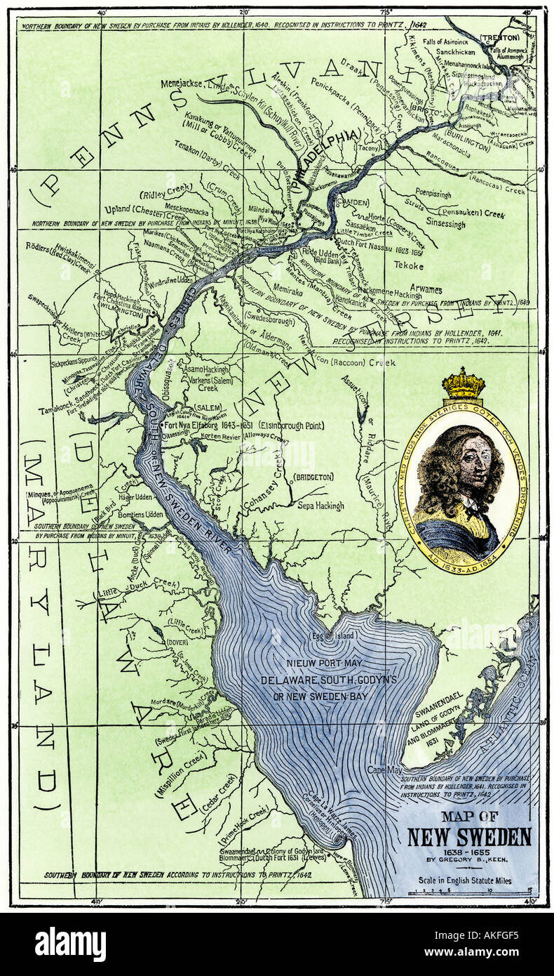 Map Of Colonial New Sweden In America 1600s Stock Photo