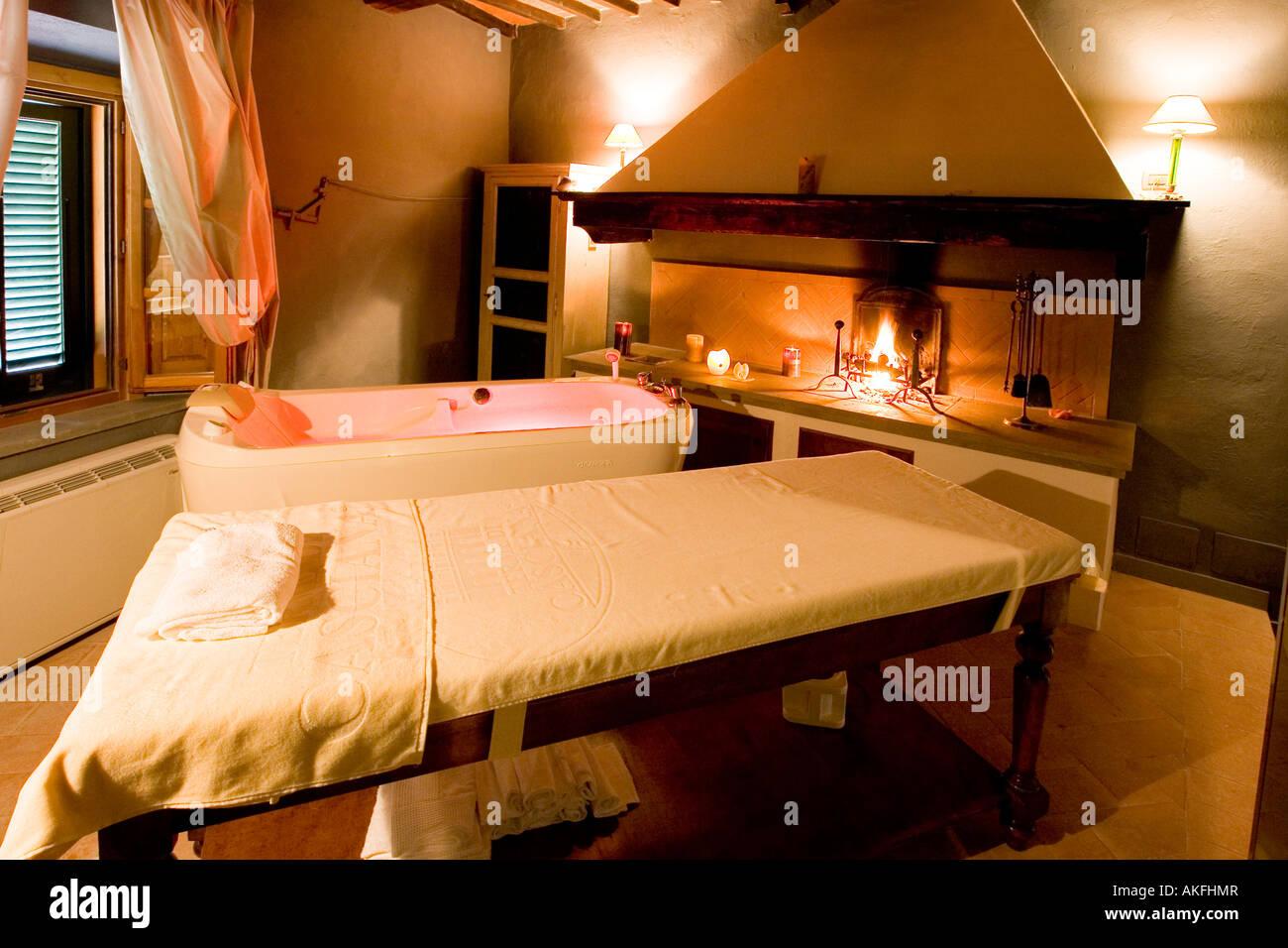 massage room with fireplace terme villa borri spa casciana terme