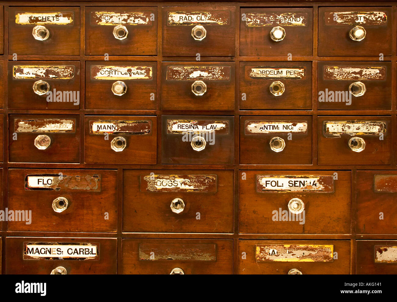 Antique apothecary drawers UK - Stock Image - Antique Old Apothecary Cabinet Stock Photos & Antique Old