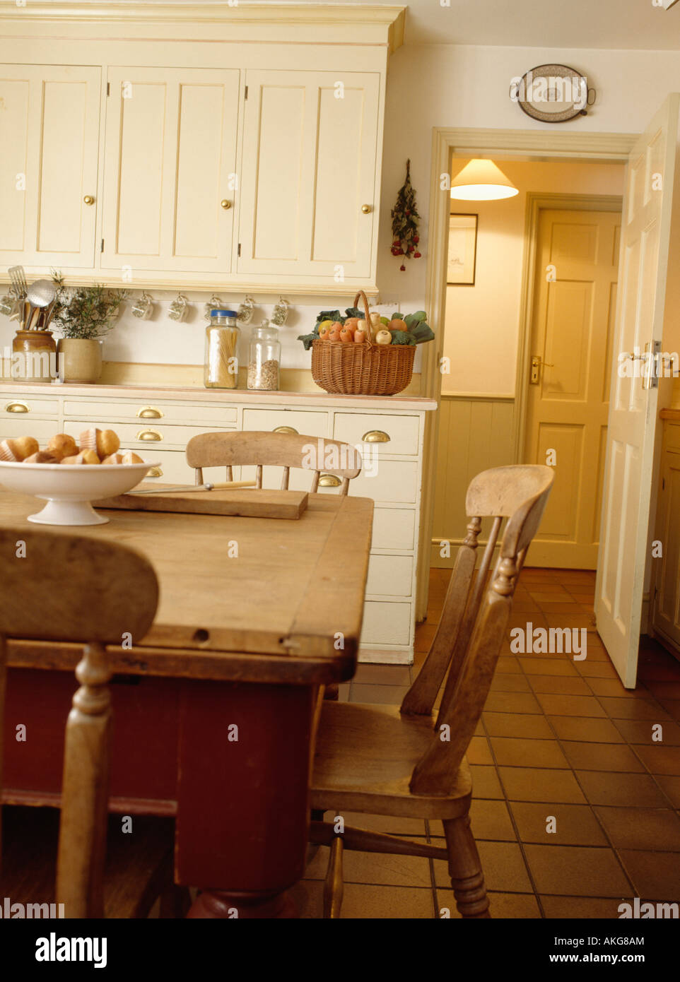 Pine Table And Chairs In Cream Country Kitchen With Terracotta Tiled Floor