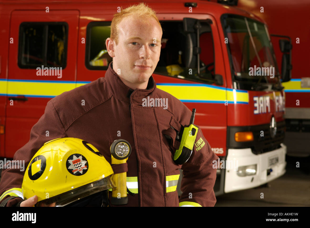Portrait Of London Fire Brigade Fireman Dan Savva In Front