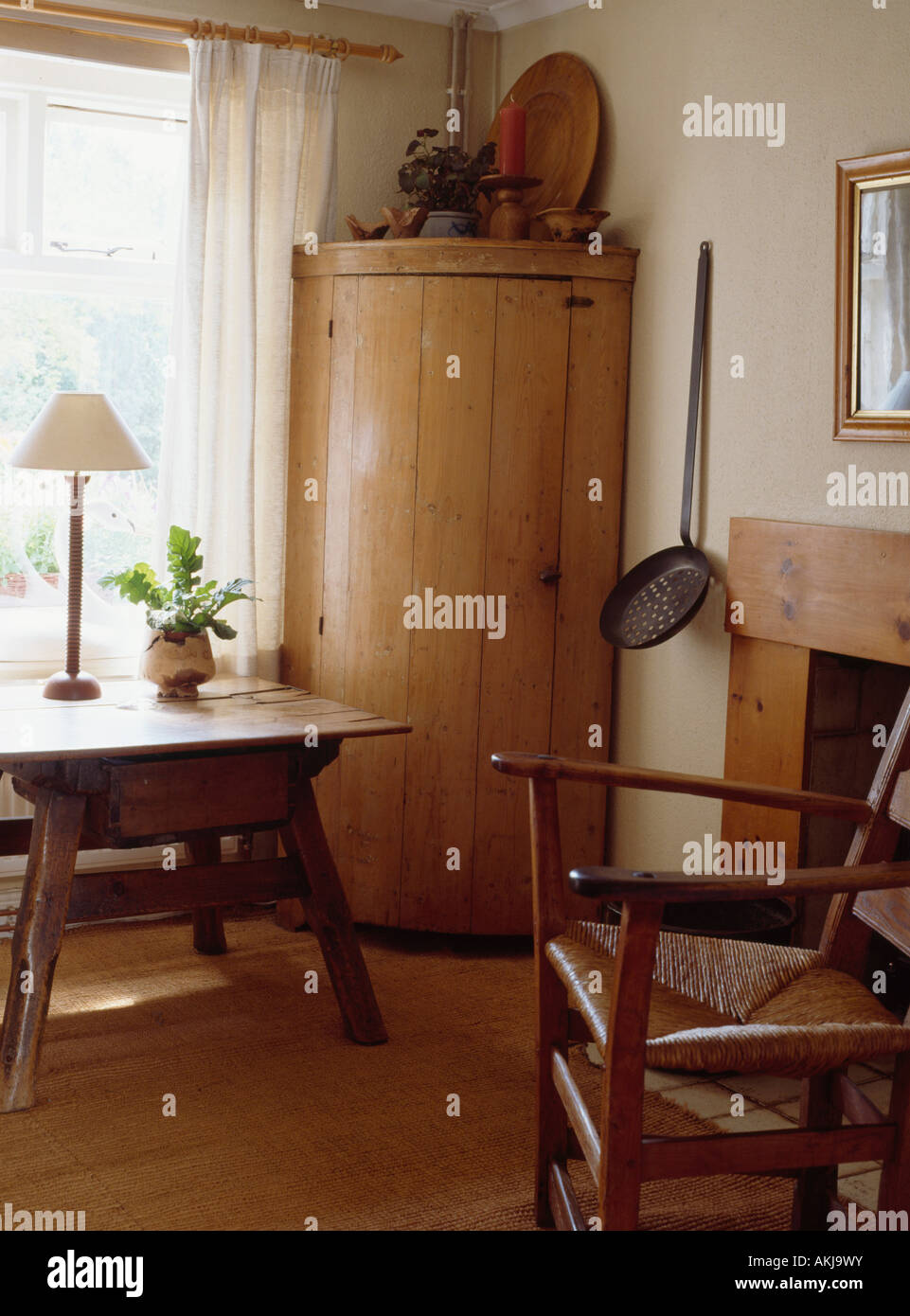 Curved Antique Pine Corner Cupboard In Shaker Style Dining Room With Rush  Seated Chair And Small Antique Table Part 67