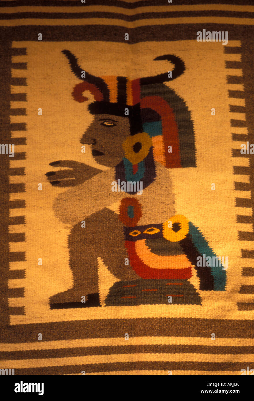 Mexican Rug, Aztec Image Textile At Market Teotihuacan Mexico State Mexico  North America