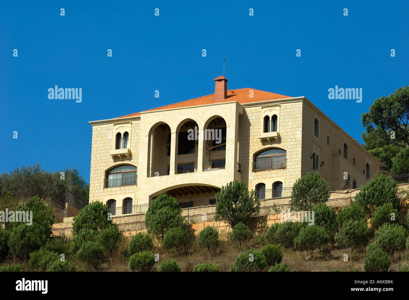 Clay pitched roof villa in mount lebanon stock photo for Modern house lebanon