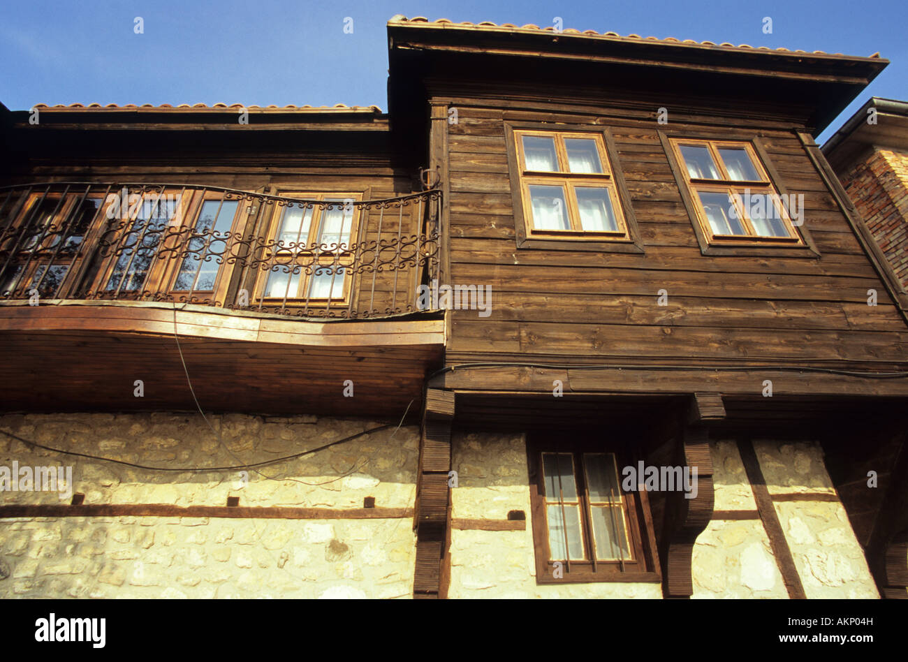 Lovely Traditional Stone And Wood House Old Town Nessebar Bulgaria Stock
