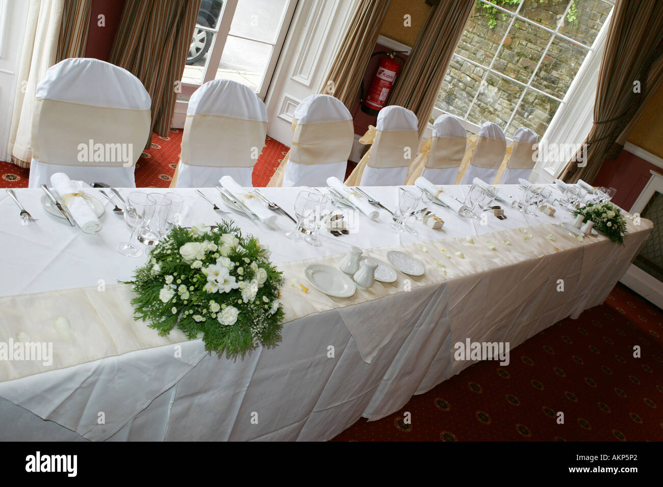 a wedding reception breakfast typical traditional top table before AKP5P2 - Traditional Wedding Breakfast