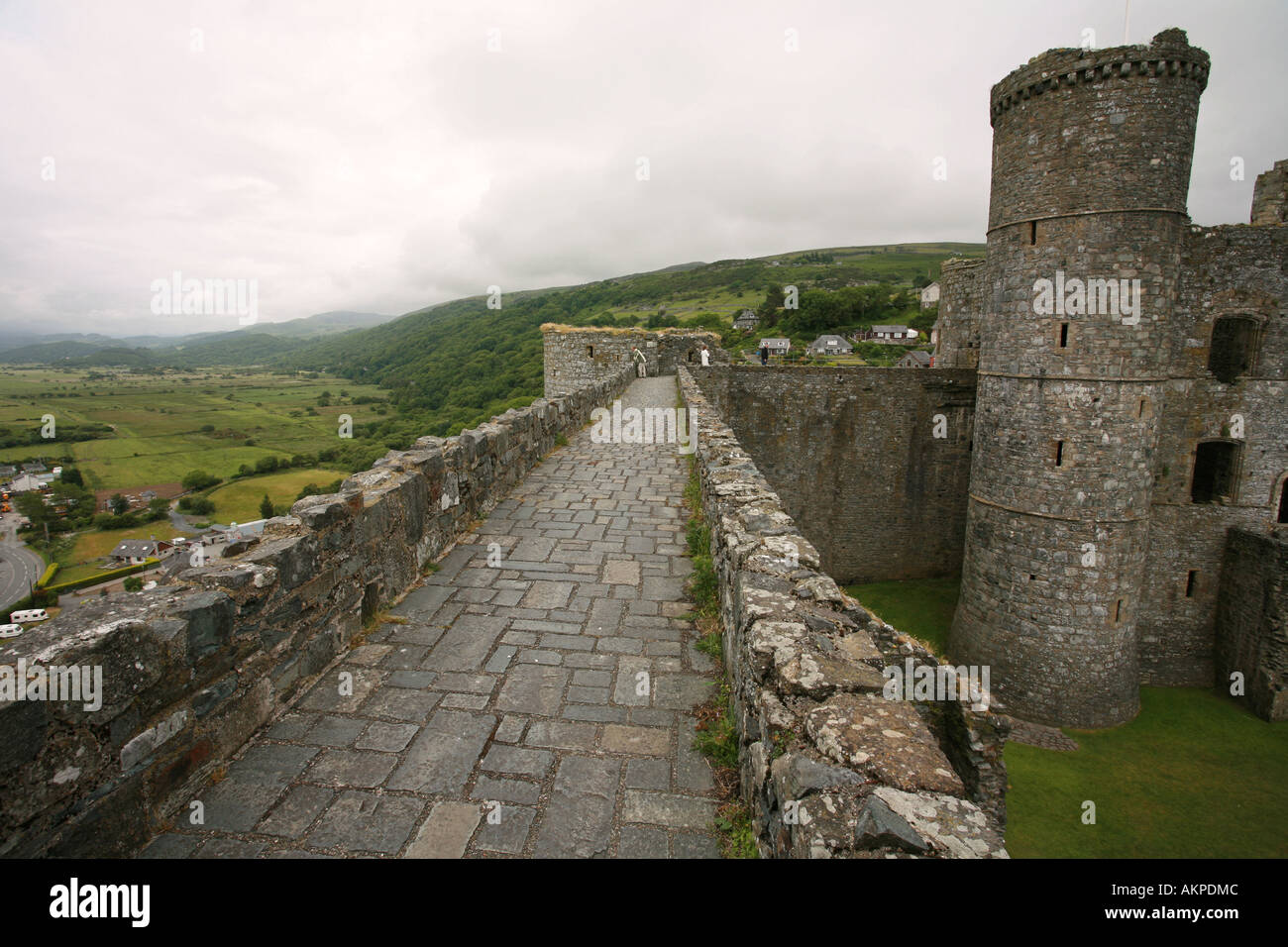 Aerial view of battlements ramparts and stone walls of ...