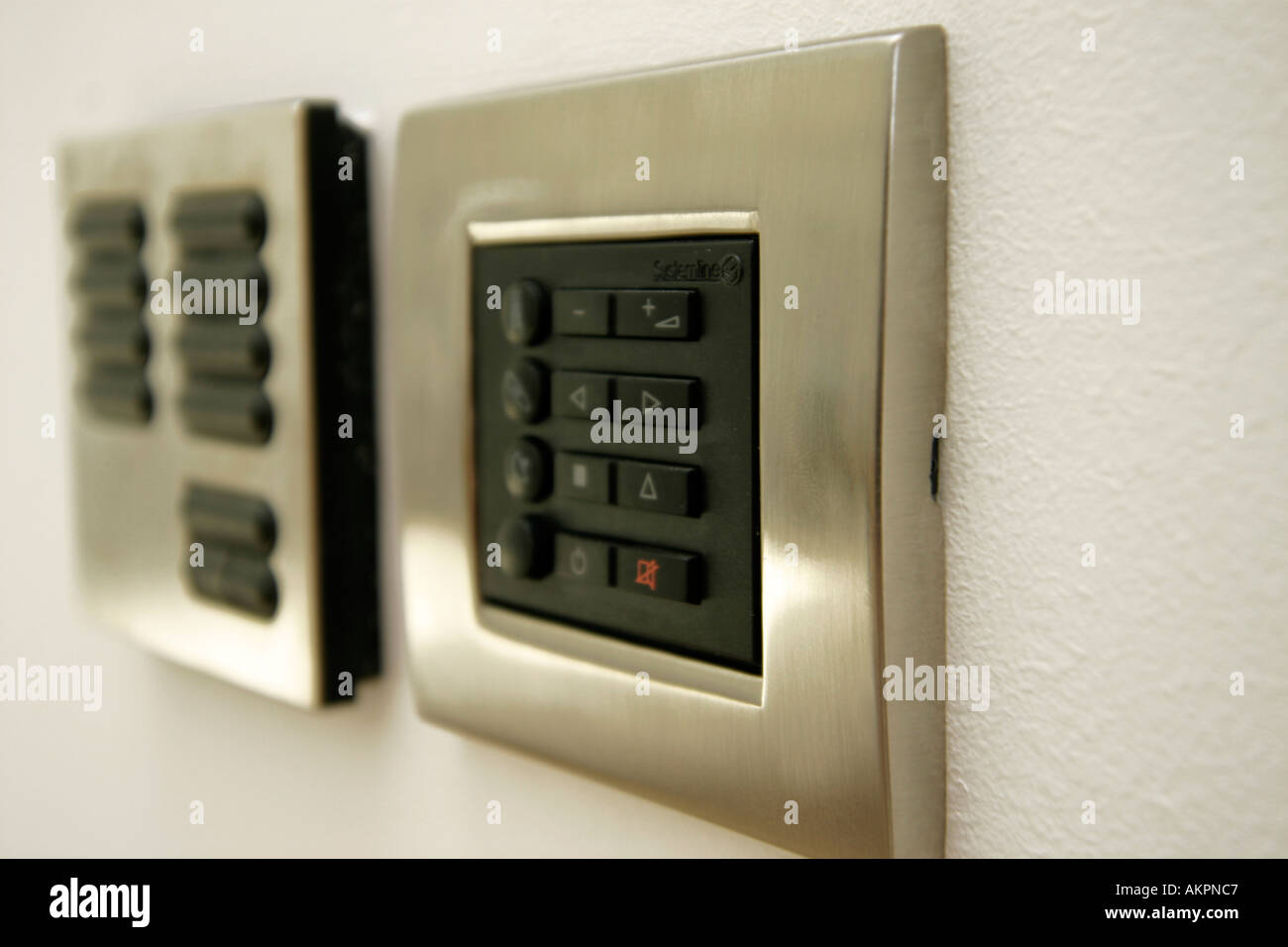 lighting control panel and door entry system on a modern apartment