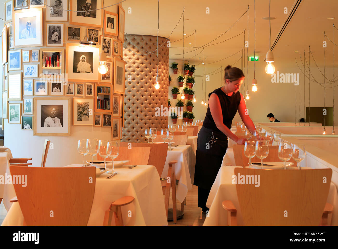 Home luxury romantic restaurant interior design of asia de cuba at - Stock Photo United Kingdom London Waitress In Asia De Cuba Restaurant Of St Martins Lane Hotel 5 Star Hotel Decorated By Philippe Starck