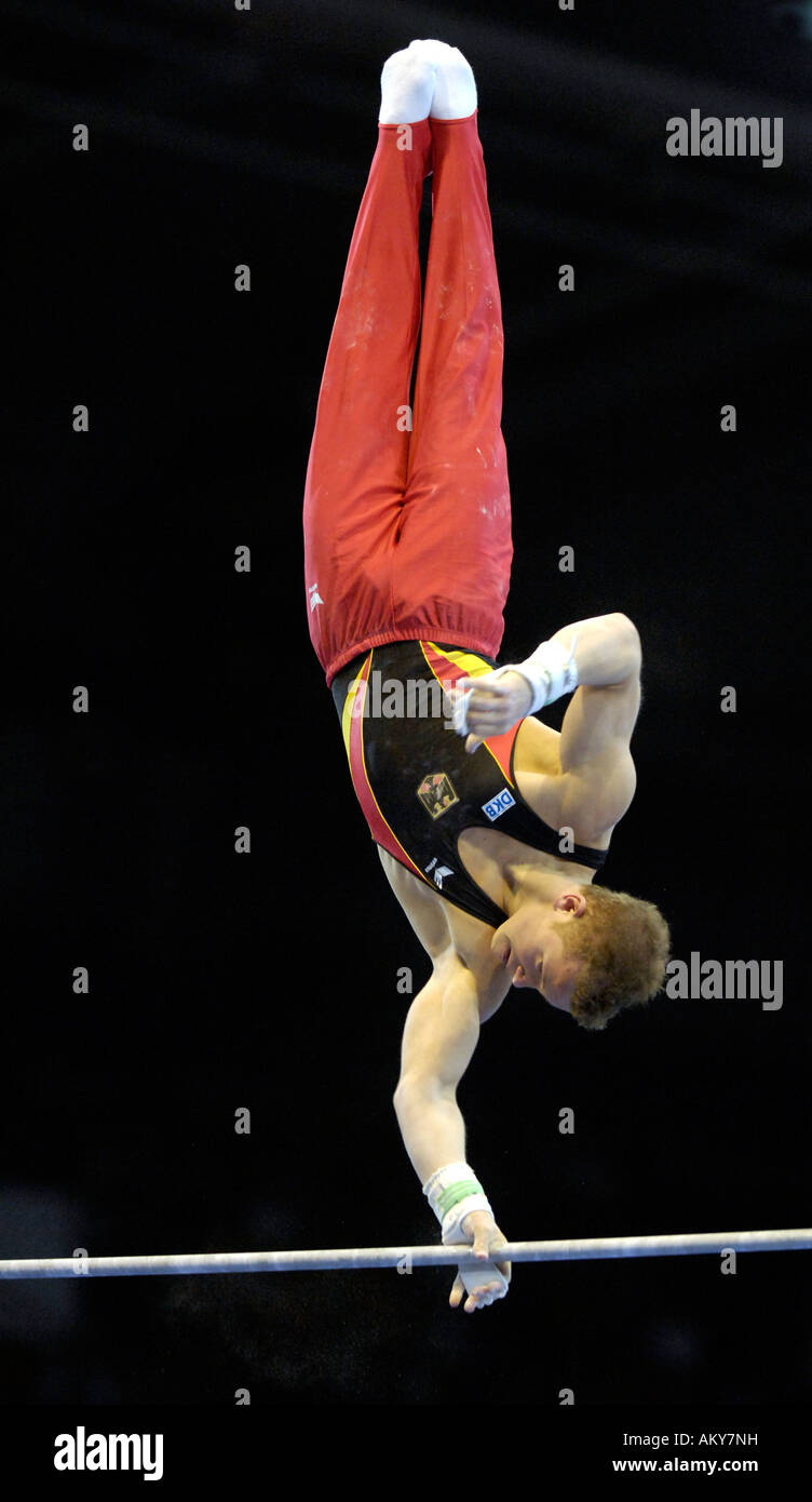 Artistic Gymnastics Fabian HAMBUeCHEN GER On High Bar World Championships 2007 Stuttgart Baden Stock
