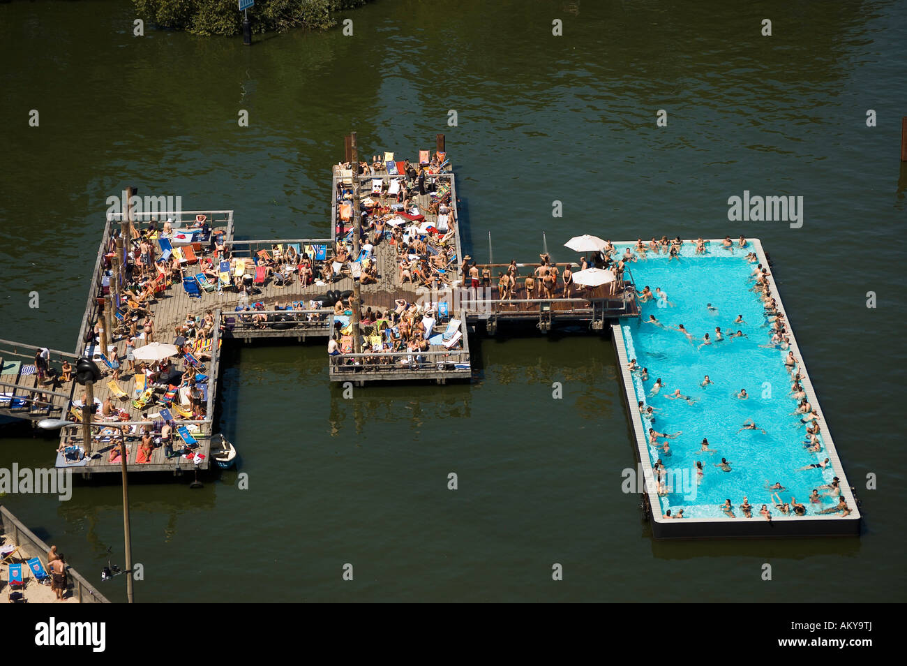 badeschiff bathing ship public swimming pool river spree stock photo royalty free image. Black Bedroom Furniture Sets. Home Design Ideas