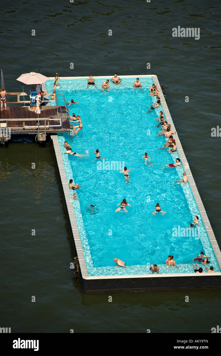 "Public Swimming Pool badeschiff"", ""bathing ship"", public swimming pool, river spree"