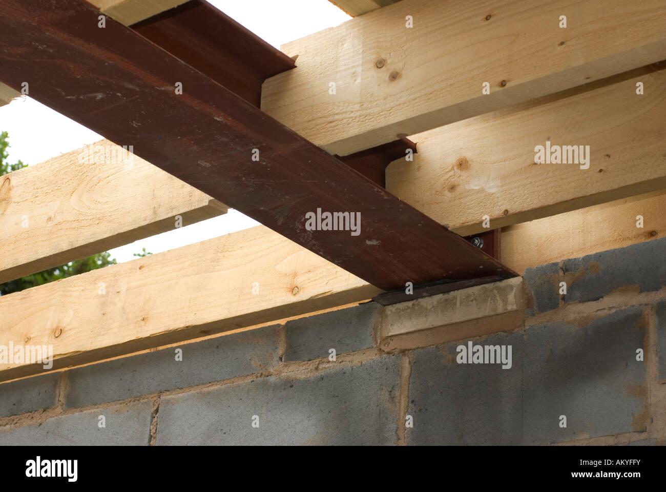 Wooden Roof Joists And Steel Joist Stock Photo 15098798