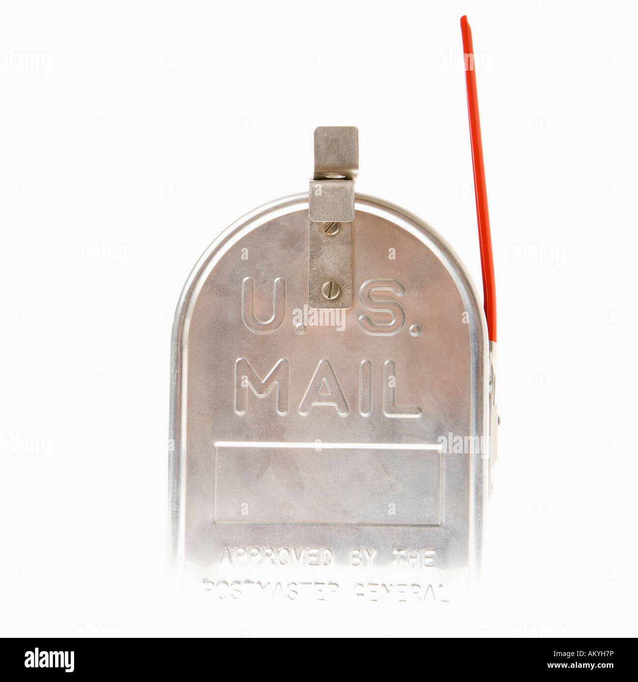metal mailbox flag. Shiny Silver Metal Mailbox With Flag Up I