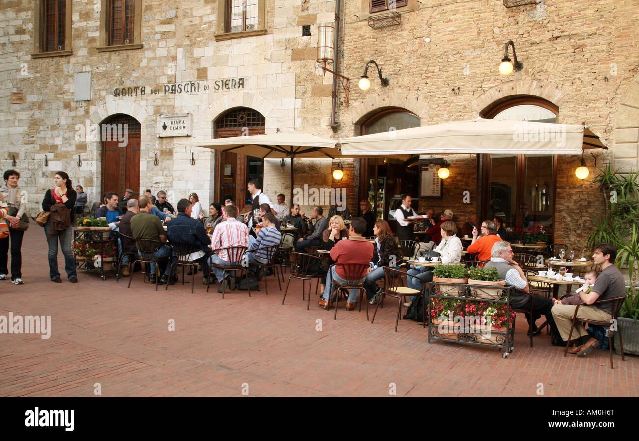 Restaurant In Main Square San Gimignano Tuscany Italy