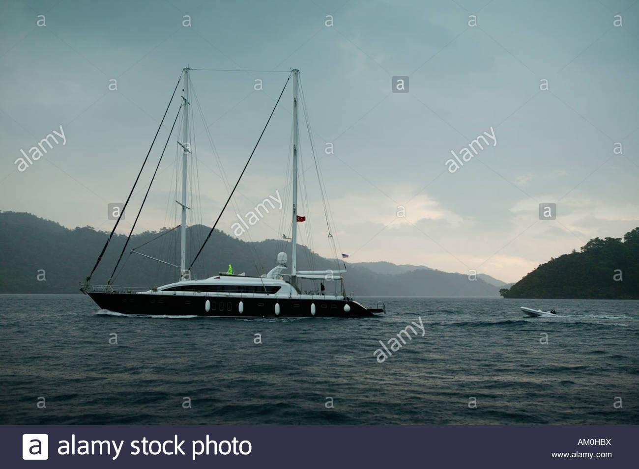 Modern Schooner Type Sailing Yacht Motoring In Bad Weather Göcek