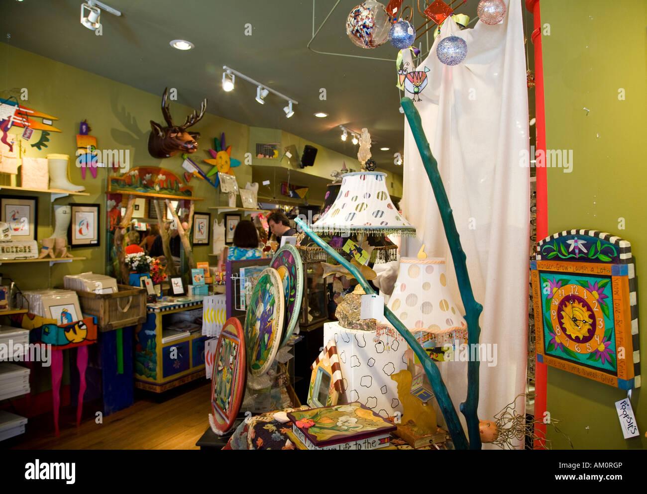 ILLINOIS Galena Items displayed in gift shop interior interior Stock ...