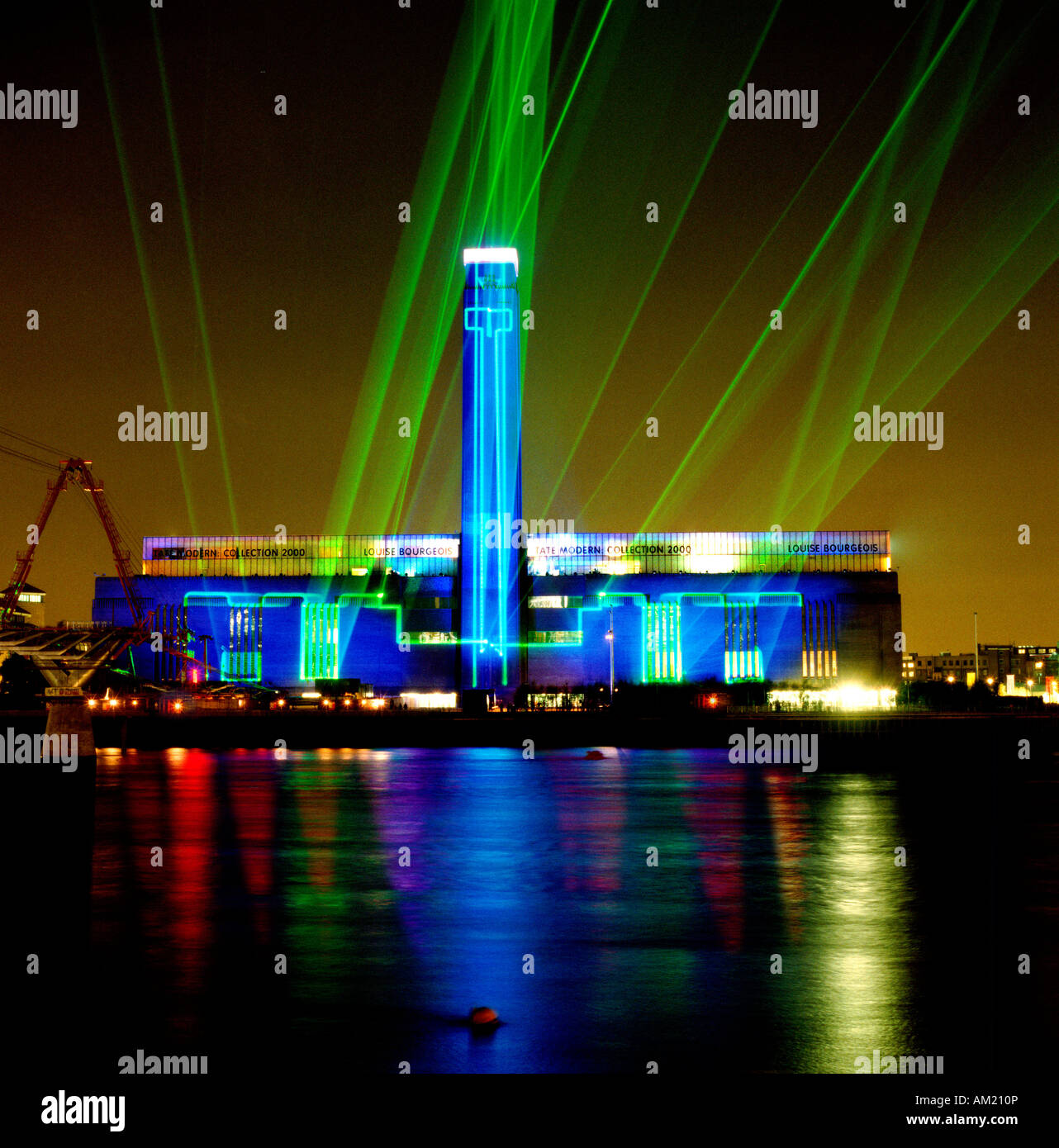 New Tate Modern Gallery opens to fantastic Laser Show across the River  Thames in London on 12 May 2000
