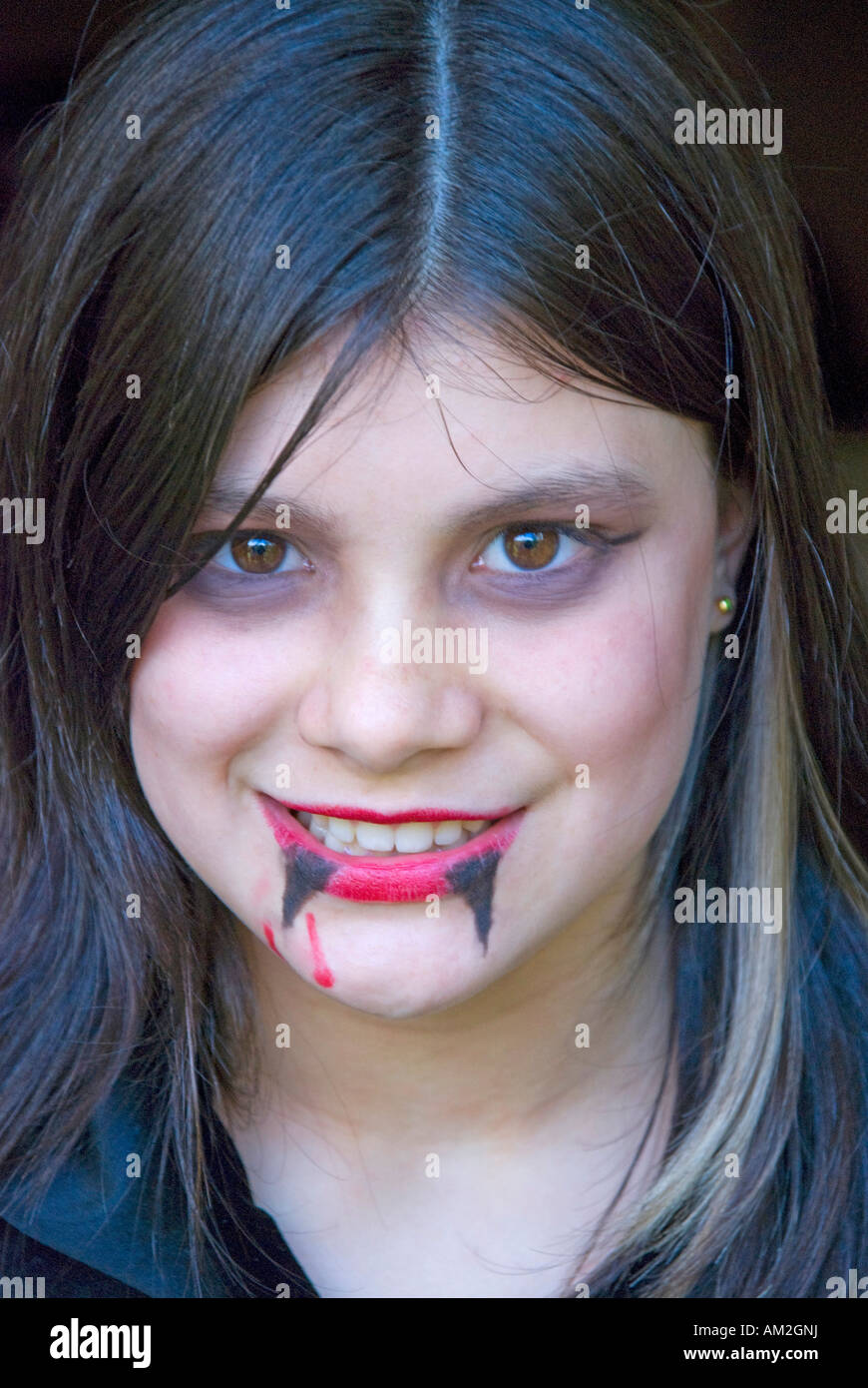 11 year old girl wearing vampire makeup for a Halloween party ...