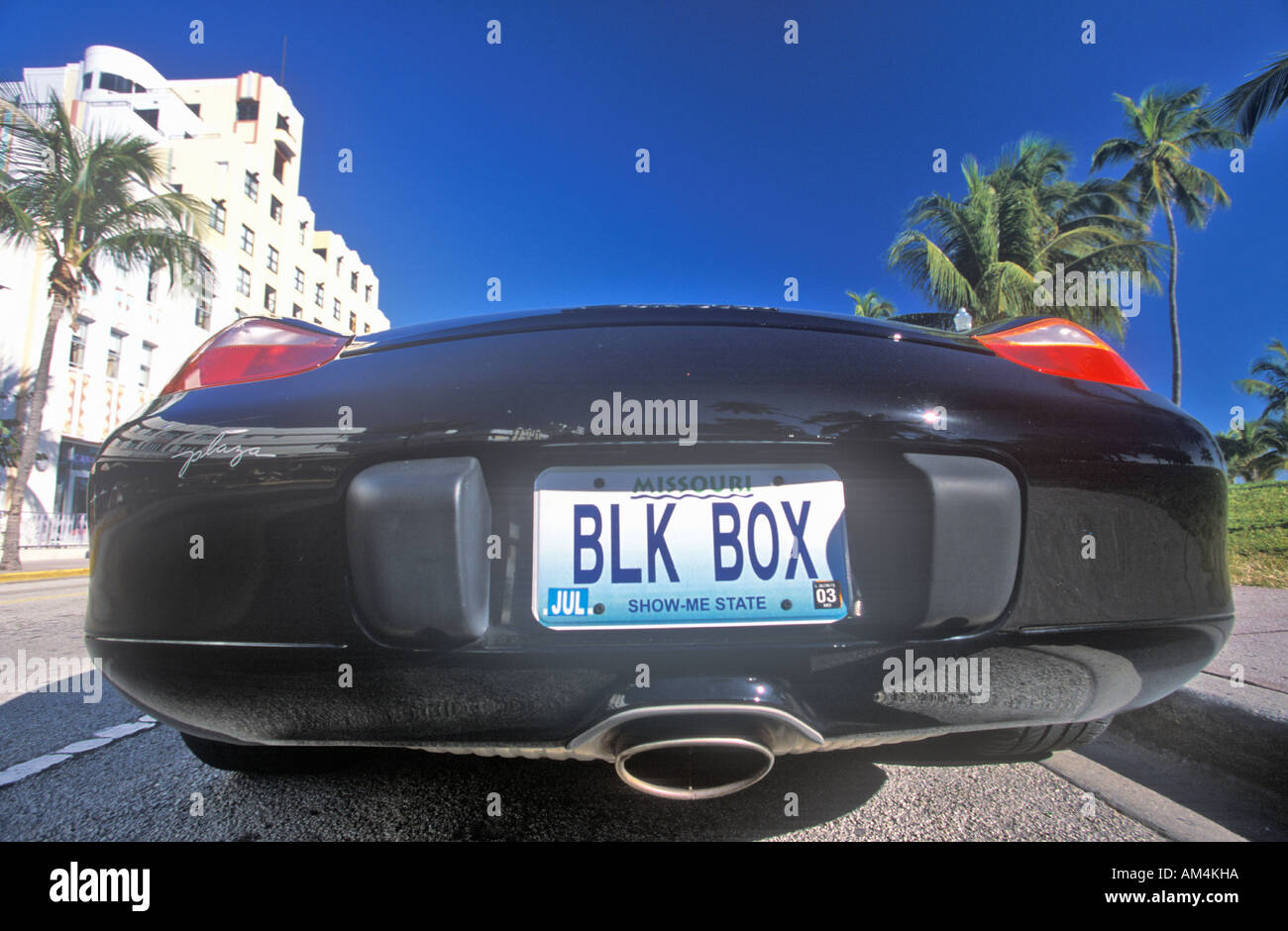 Black Box Vanity License Plate On The Back Of A South Beach Porsche Miami Florida