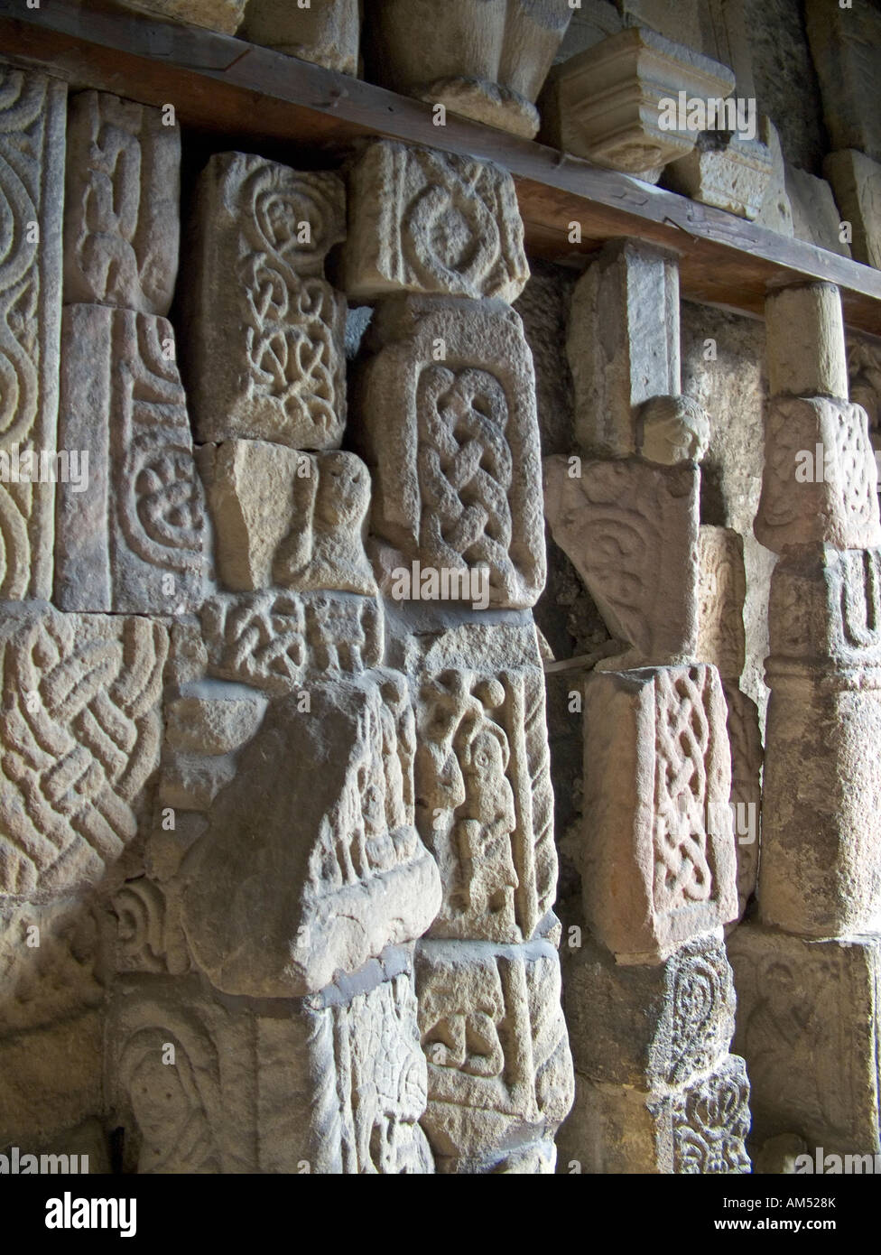 Anglo saxon and norman stone carvings in the entrance to