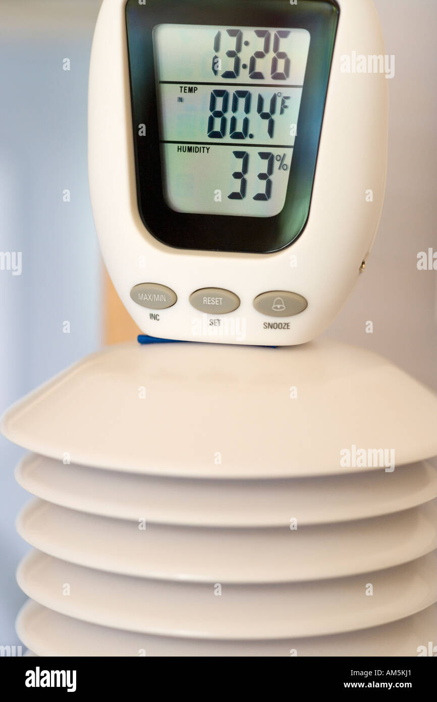 Digital Thermometer And Hygrometer Unit Coupled With The Thermostat Of An  Experimental House That Is Heated And Powered By Solar