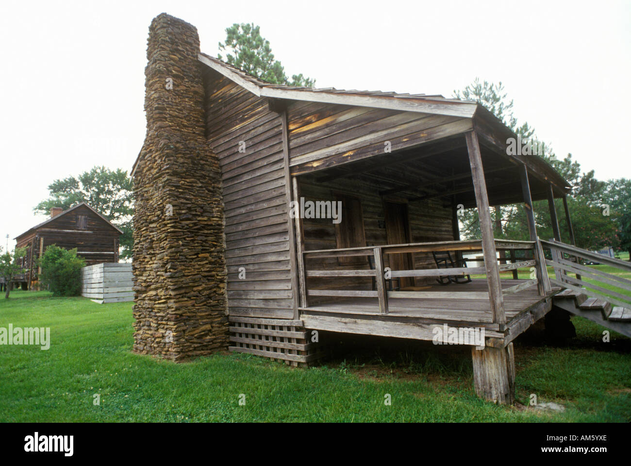 log cabin with fireplace in historic camden sc stock photo
