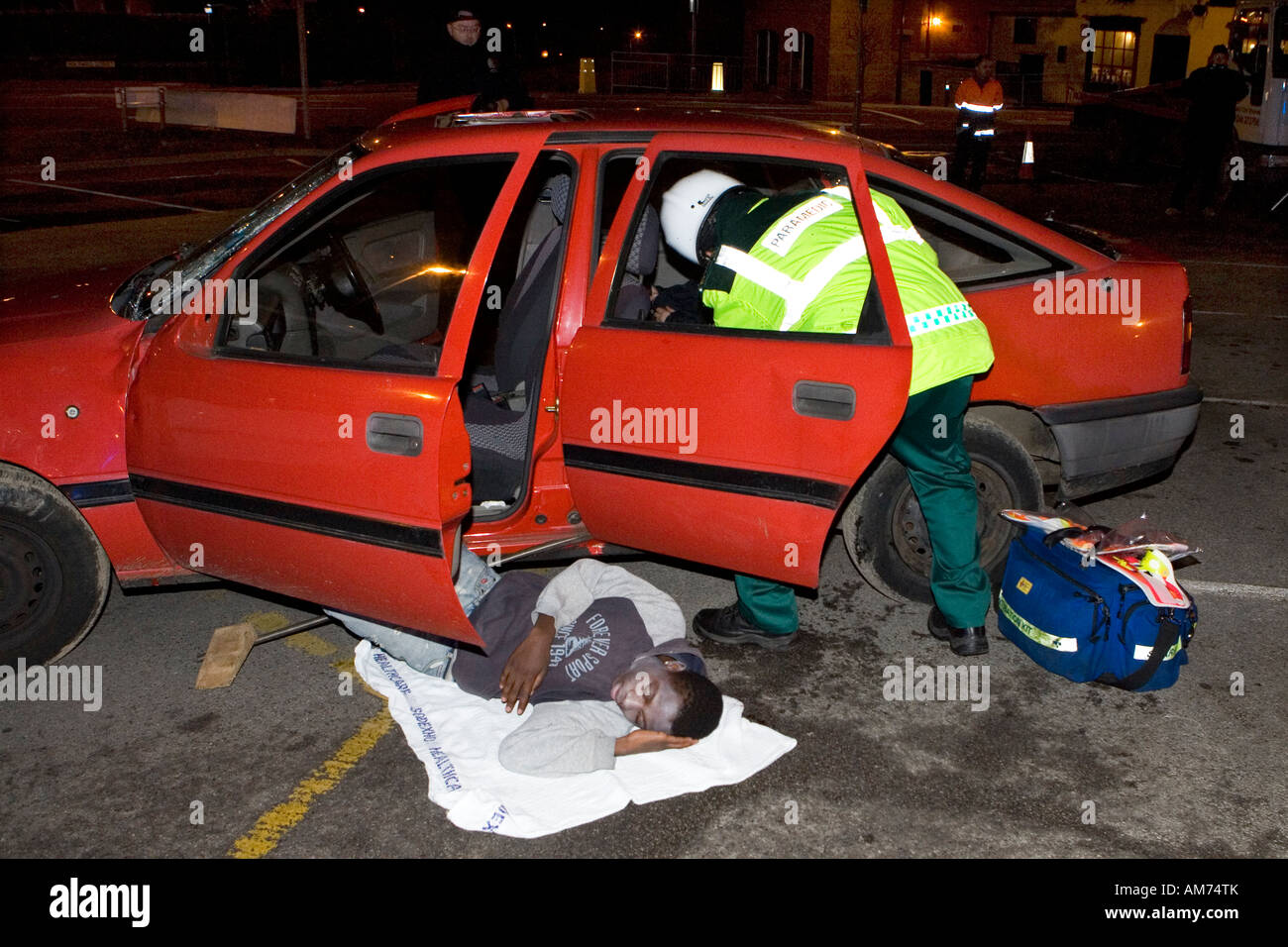 road traffic accident simulation in chesterfield derbyshire involving police paramedics fire services and volunteer victims