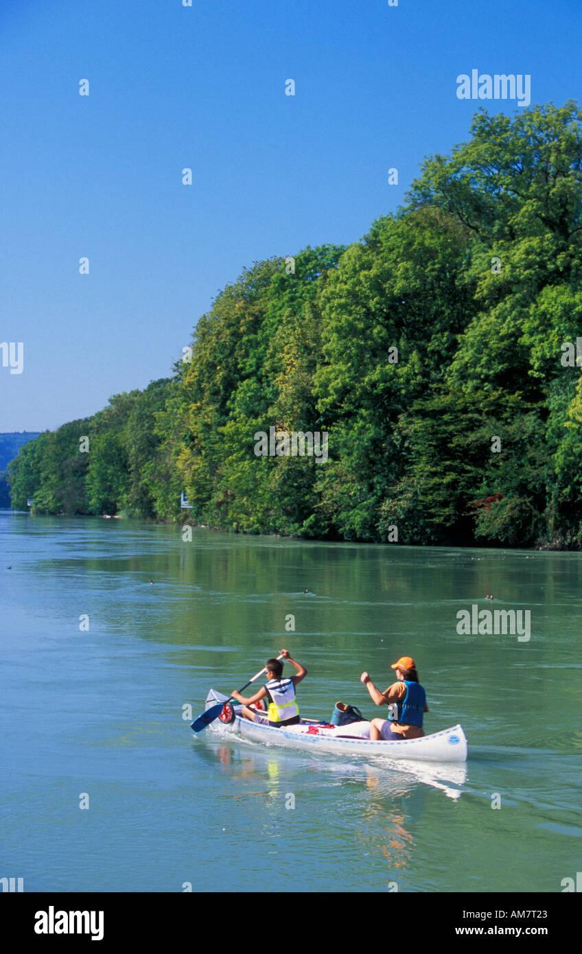 Kayak On The River Rhine Near Laufenburg On The German Swiss - Swiss river to the rhine