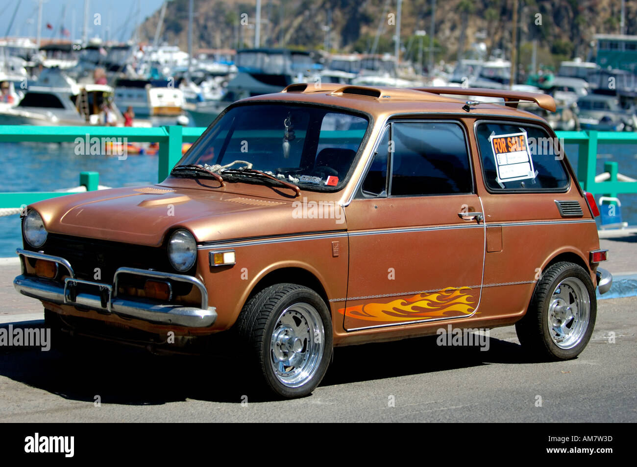 Brown Morris Mini Cooper car with For Sale sign parked in the – Free for Sale Signs for Cars