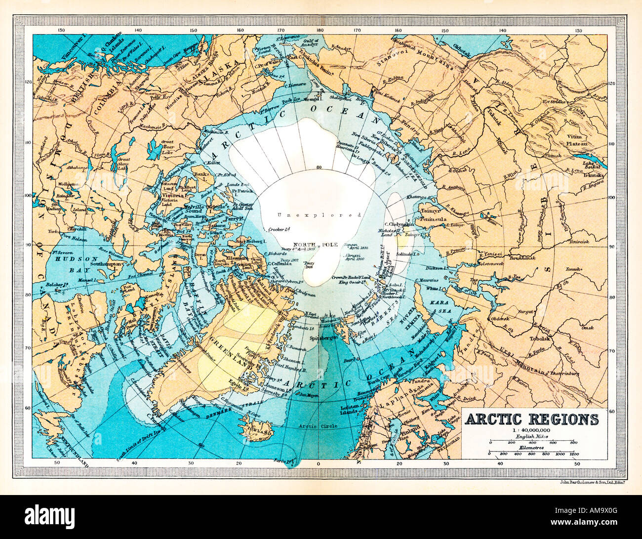 The Arctic 1922 Map of the North Pole and surrounding area Stock