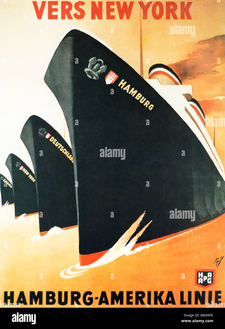 vers new york 1920s art deco poster for the trans atlantic. Black Bedroom Furniture Sets. Home Design Ideas