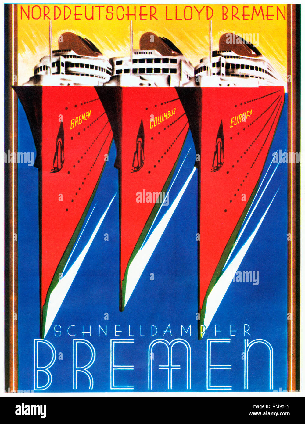 Schnelldampfer Bremen 1930s Art Deco Poster For The Fast ...